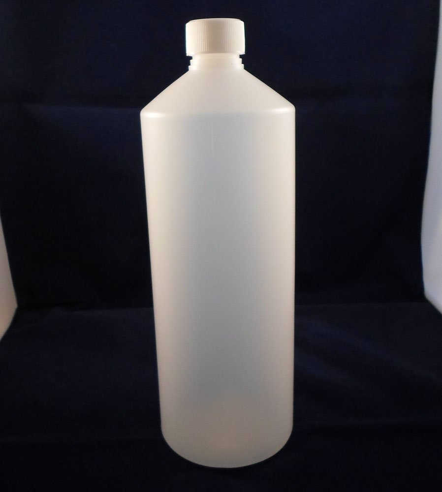 BuyBottlesAndCans.com 1000ml Clear HDPE Plastic Bottles with Screw Tops X 10