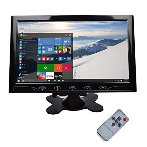Toguard 10.1 Zoll TFT LCD Farbbildschirm - Ultradünner Flachbildschirm 1024 * 600 mit 2 Video Eingänge für PC mit VGA HDMI AV Anschlüssen, Fernbedienung, eingebauten Lautsprecher, breiter Betrachtungswinkel