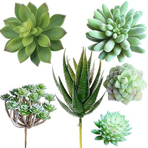 Supla Pack of 6 Assorted Artificial Echeveria Succulent Picks Textured Faux Succulent Pick Agave Cactus in Different Green for Fake Succulent Bouquet Floral Arrangement
