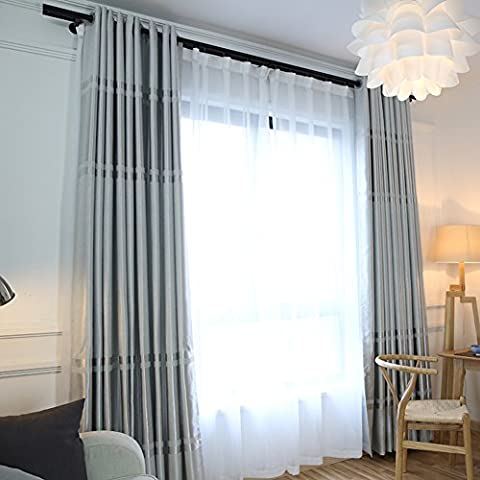 Simple and modern embossed solid color blackout curtain/ floor to ceiling Bay window curtains living room bedroom-C - Elegance Ceiling Light
