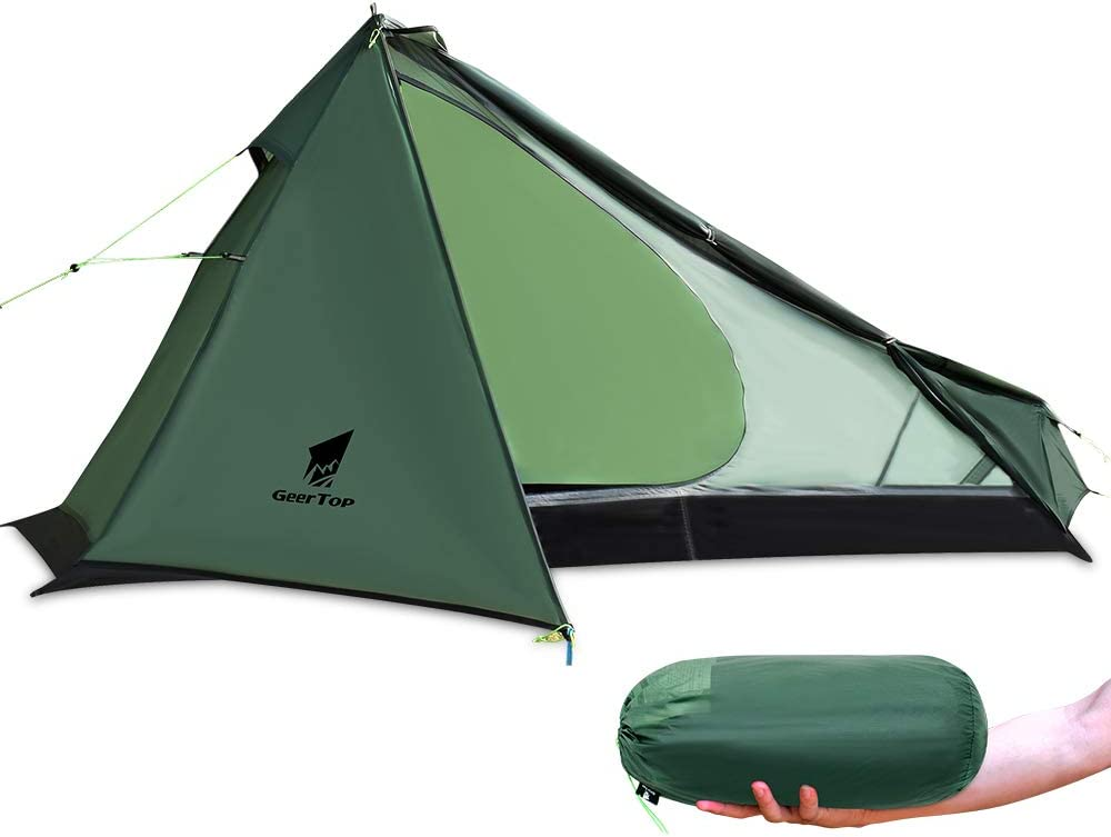 GEERTOP Upgrade Ultralight 3 Season 1 Person Tent for Camping Backpacking Hiking Travelling - Single Trekking Pole Tents (Not Include The Pole) Easy to Set Up