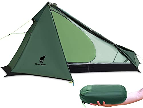 GEERTOP Upgrade Ultralight 3 Season 1 Person Tent for Camping Backpacking Hiking Travelling – Single Trekking Pole Tents Not Include The Pole Easy to Set Up