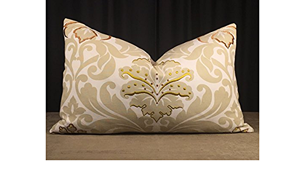 13x 21.5 Scalamandr\u00e9 silk backing includes downfeather insert LumbarBolster Pillow from design house Clarence House/'s jacquard