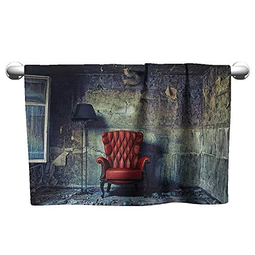 Bensonsve Baby Bath Towel Antique,Old Armchair Floor Lamp in Grunge Interior Damaged Messy Abandoned House,Pale Green Red Black,Towel for car