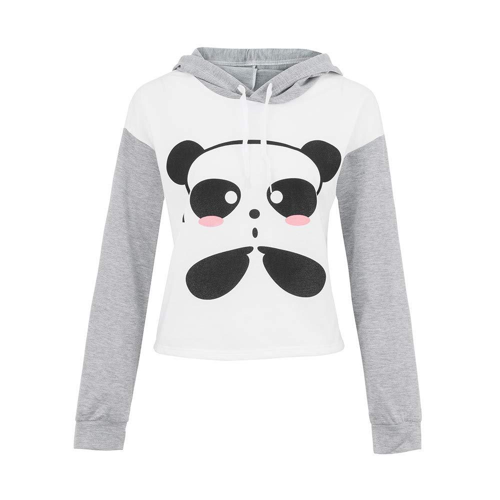 Cartoon Encapuchonné Pull Chaud Manteau Automne Hiver Imprimer Panda Sweat-Shirt Femme Pas Cher Color Block
