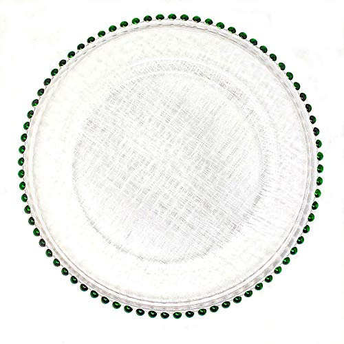 #1 Christmas Festive Red and Green Combo 13-Inch Beaded Rim Clear Glass Charger Plates Wedding Christmas Anniversary Modern Formal Service Dining Entertaining Home Kitchen Party Decor (8, green) ()