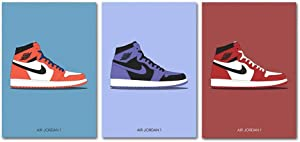 YGYT 3 Piece Fashion Shoes Canvas Poster for AJ Shoes Air Sneaker Michael Home Decor Wall Art Painting Picture on Canvas for Living Room Bedroom 18x24in Unframed