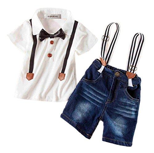 [StylesILove Baby Kids Boys Bowtie T-shirt and Suspender Denim Shorts 2-piece (140/6-7 Years)] (Denim Romper Costume)