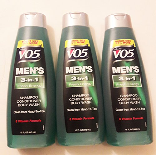 3 Pk, Alberto VO5 Men's 3-in-1 Shampoo Conditioner Body Wash Fresh Energy, 15 fl. - Conditioner Body Vo5 Extra
