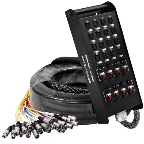 Seismic Audio - SAXQ-16x8x50 - 16 Channel 50' XLR Snake Cable with XLR and 1/4'' Returns on the Box by Seismic Audio