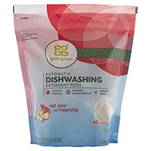 Grab Green Natural Automatic Dishwashing Detergent Red Pear with Magnolia, 60 Loads