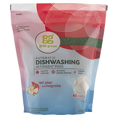 Grab Green Natural Automatic Dishwashing Detergent Pods, Red Pear with Magnolia, 60 Loads
