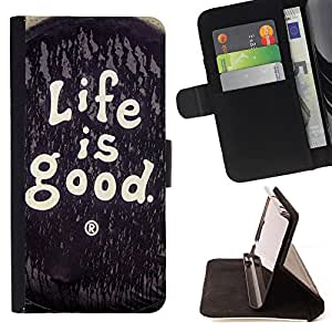 Super Marley Shop - Funda de piel cubierta de la carpeta Foilo con cierre magn¨¦tico FOR Samsung GALAXY G850 SM-G850F G850Y G850M- Loife Is Good