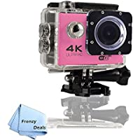 FrenzyDeals Pink Ultra HD Wifi Waterproof Sports Camera + FrenzyDeals Microfiber Cloth