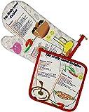 The Jerusalem Gift Shop Kitchen Oven Glove & Pot Holder Set - Holy Land Cuisine Souvenir with Israeli Menu recipes: Hummus, Falafel Mix & Israeli Salad