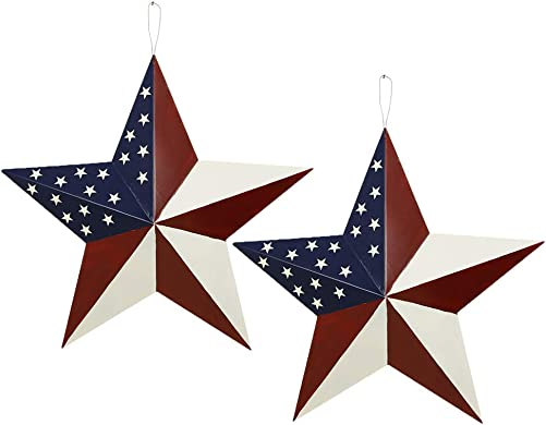 E-view Metal Barn Star Set Patriotic Home Decor Primitive Indoor Outdoor Wall Art 2 Pcs Rustic Hanging Stars Decoration