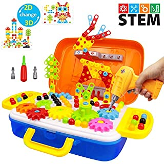 STEM Learning Toys, Construction Engineering Building Block Games with Toy Drill & Screw Driver Tool Set, DIY Educational Puzzles with Storage Box for Boys and Girls (276 Drill Puzzles Bus Box)