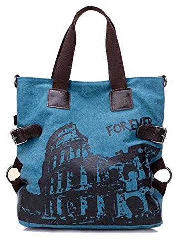 tela Odomolor ROIBK181431 Shopping Azzurro ricamato Donna tracolla a Nylon Borse Borse Lavoro di Cachi xPqxvfnBw
