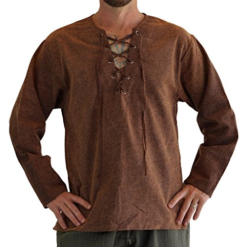 zootzu 'Round Collar' Medieval, Viking Shirt, Men Renaissance Clothing, Steampunk - Stone Brown -