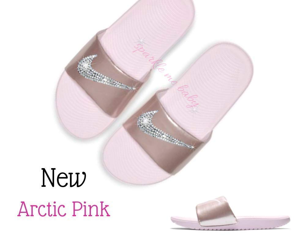 b3d50ecb4 Nike Slide Women s Arctic Pink Kawa Slides Swarovski Bedazzled Shoes Bling  Nike Customized for you by