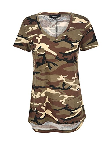 ASMAX HaoDuoYi Womens Camo Camouflage Jersey Longer V Neck Top Tee T Shirt (Large, Green + Brown ()