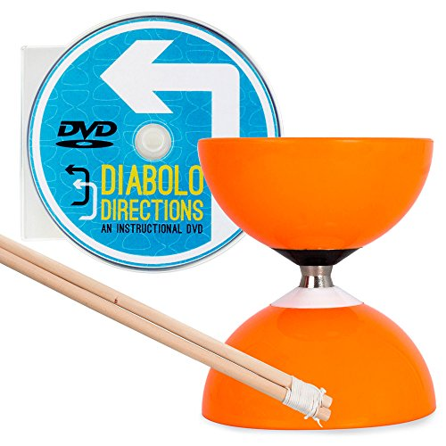 Orange Carousel - Fast Bearing Diabolo Set, Hardwood Diablo Sticks, Pro String & Diabolo Directions DVD!