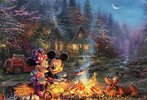 Thomas Kinkade - Disney Mickey & Minnie Sweetheart Fire Puzzle - 750 Pieces Disney Mickey Mouse Jigsaw Puzzles
