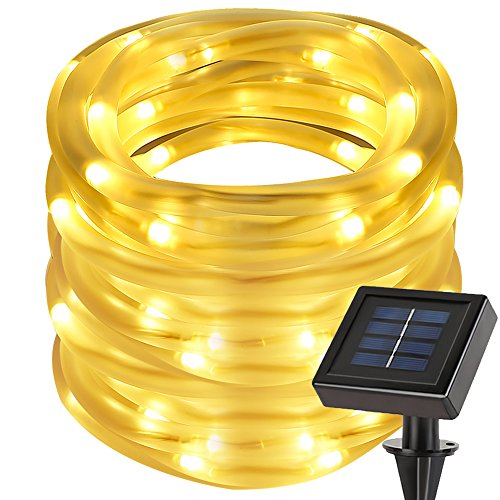 LE 33ft 100 LED Solar Power Rope Lights, Waterproof, Warm White, 3000K, Portable, String Lights, Light Sensor, Decoration (Creative Rechargeable Battery)