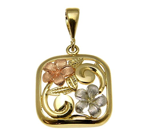 Gold Color Pendant Leaf Tri - 14K pink rose yellow white gold tri color hawaiian plumeria maile leaf flower pendant