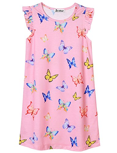 Kids Nightgown Girls Butterfly 7-16 Cotton Nightdress Pink Sleepwear Princess -