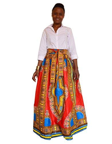 Monique Women African Style Floral Print Long Maxi Skirt High Waist Floor Length Skirts Dresses Longuettes for Ladies Yellow Orange L/XL by Monique (Image #1)