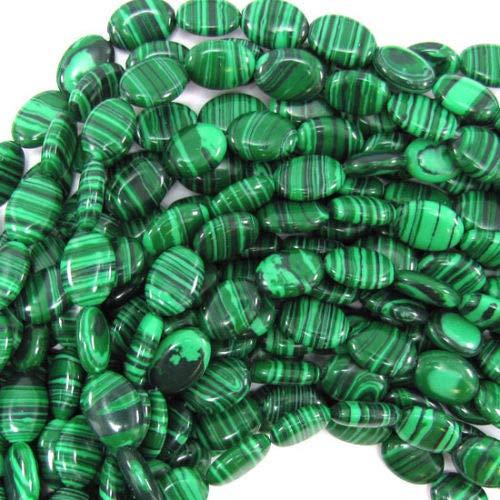 ShopForAllYou Design Making 14mm Synthetic Green Malachite Flat Oval Beads 15.5
