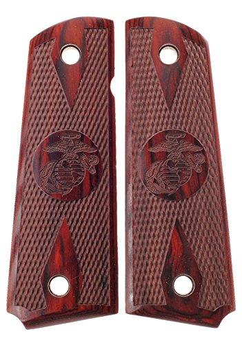 Premium Gun Grips 1911 Colt Full Size Double Diamond Checkered Rosewood USMC