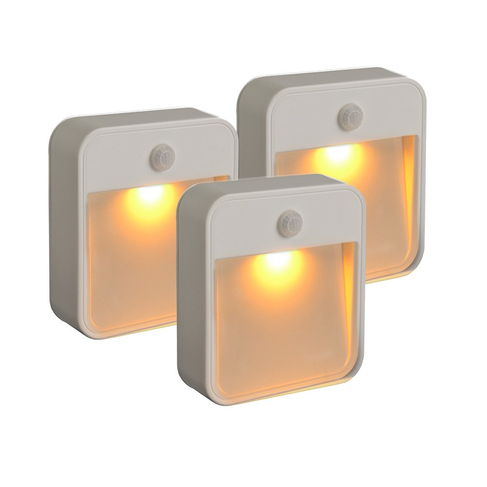 Mr. Beams MB720A Sleep Friendly Battery-Powered Motion-Sensing LED Stick-Anywhere Nightlight with Amber Color Light (3 Pack) MB720A-WHT-03-01