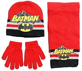 Boys Official Batman Winter Knit Beanie Hat Scarf & Gloves Set Sizes from 3 to 12 Years