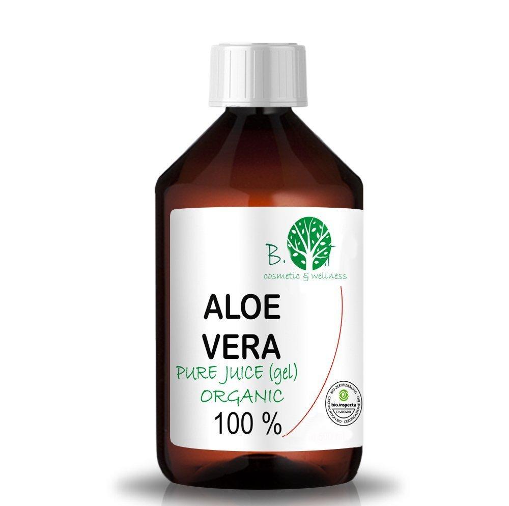 B.O.T Cosmetic & Wellness 100 prozent pur aloe vera Aloe Vera Gel Bio 100% Biologisch Kontrollierter Anbau - Flüssiger nativer Saft EINFÜHRUNGSANGEBOT - Feuchtigkeitspflege für die Haut - bei Sonnenbrand (1000 ml) Made in France