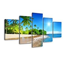 Piy Painting CANVAS PRINTS for Living Room or Bedroom,Summer Coconut Palm Beach Picture, Framed Oil Painting Giclee Reproduction Wall Art (Pink & Blue, 5 Panels, 50