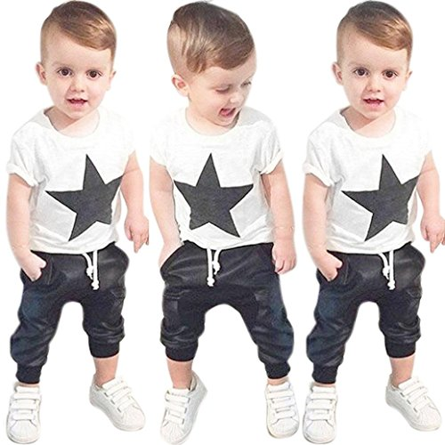 Misaky Toddler Boys Outfit Printed T-shirt +Long Pants Trousers 2 Pcs Set (Essential Trousers)