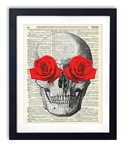 Skull With Red Roses Upcycled Vintage Dictionary Art Print ()
