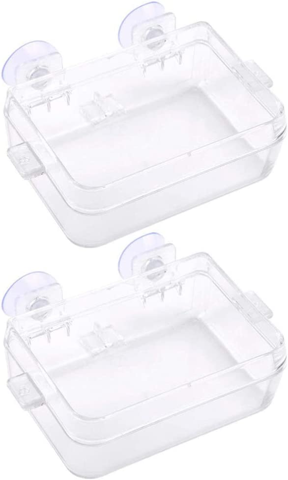 POPETPOP 2pcs Plastic Feeder with Suction Cup Fish Feeding Bowl Shrimp Feeding Dish Reptile Food Water Bowl Food Container for Shrimp Fish Lizard Reptile