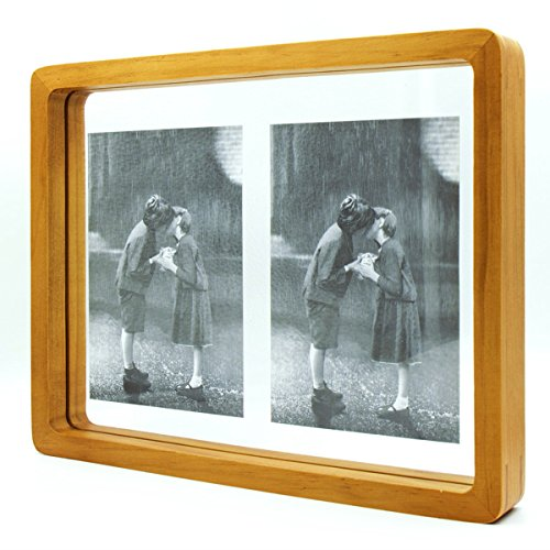 Double Sided Glass Frame (8x10 Pine Wood Picture Frame with Double Sided Transparent Glass Front -Display Various Picture Sizes(within 8x10)- Nature Nordic Style - Stands on Desktop or Table Top)