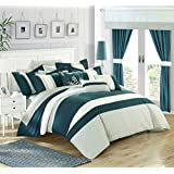 Chic Home 24 Piece Covington Complete Bedroom Set with Octagon Embroidery, Queen, Teal