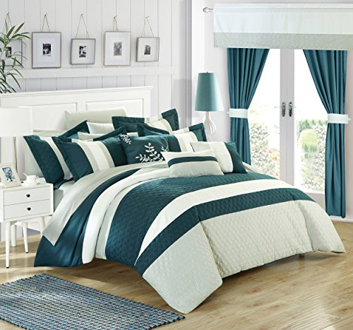 Chic Home Covington 24 Piece Comforter Set Embroidered Bed in a Bag with Sheets Curtains, Queen (Queen Four Piece Bedding Ensemble)