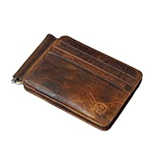 Badiya Men's Vintage Genuine Leather Bi-fold Money Clip Wallet Slim Card Holders