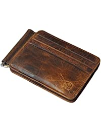 Men's Vintage Genuine Leather Bifold Money Clip Wallet Slim Card Holders