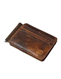 Badiya Men's Vintage Genuine Leather Bi-fold Money Clip Wallet Slim Card Holders