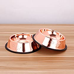 Follicomfy Stainless Steel Dog Bowls with Rubber Base Pets Feeder and Water Bowl Perfect Choice, Set of 2