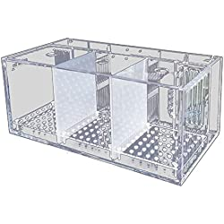 TOOGOO Acrylic Clear Aquarium Baby Fish Tank Guppy Breeding Rearing Hatchery Box: 3 Grids