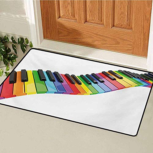 GUUVOR Music Welcome Door mat Vibrant Colored Piano Keyboard Wave Musician Arts Entertainment Harmony Instrument Door mat is odorless and Durable W31.5 x L47.2 Inch Multicolor