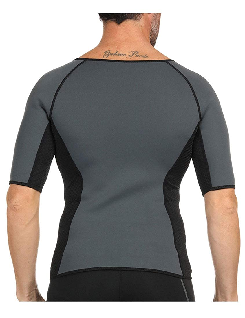 YUNY Men Neoprene Exercise Shirt Corset Caloric Burner Sweating Shirt Shapewear